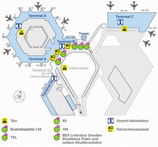 Схема аэропорта Тегель в Берлине