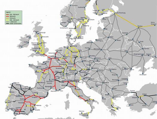 Карта железных дорог Европы